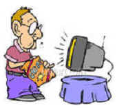 Appetite Cartoon Man Eating & Watch TV